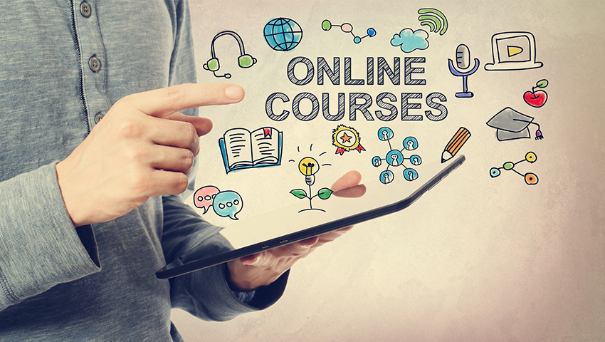 Finger pointing at the phrase online courses with related visuals next to it