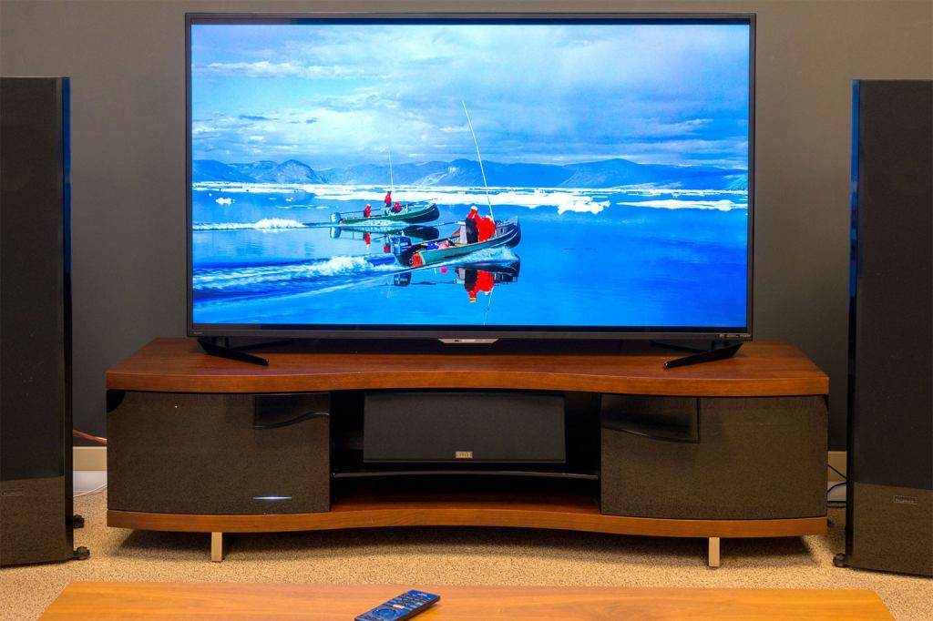 High definition flat-screen TV with a vibrant blue background