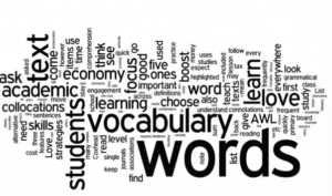 Word cloud showing a selection of words related to vocabulary and learning.