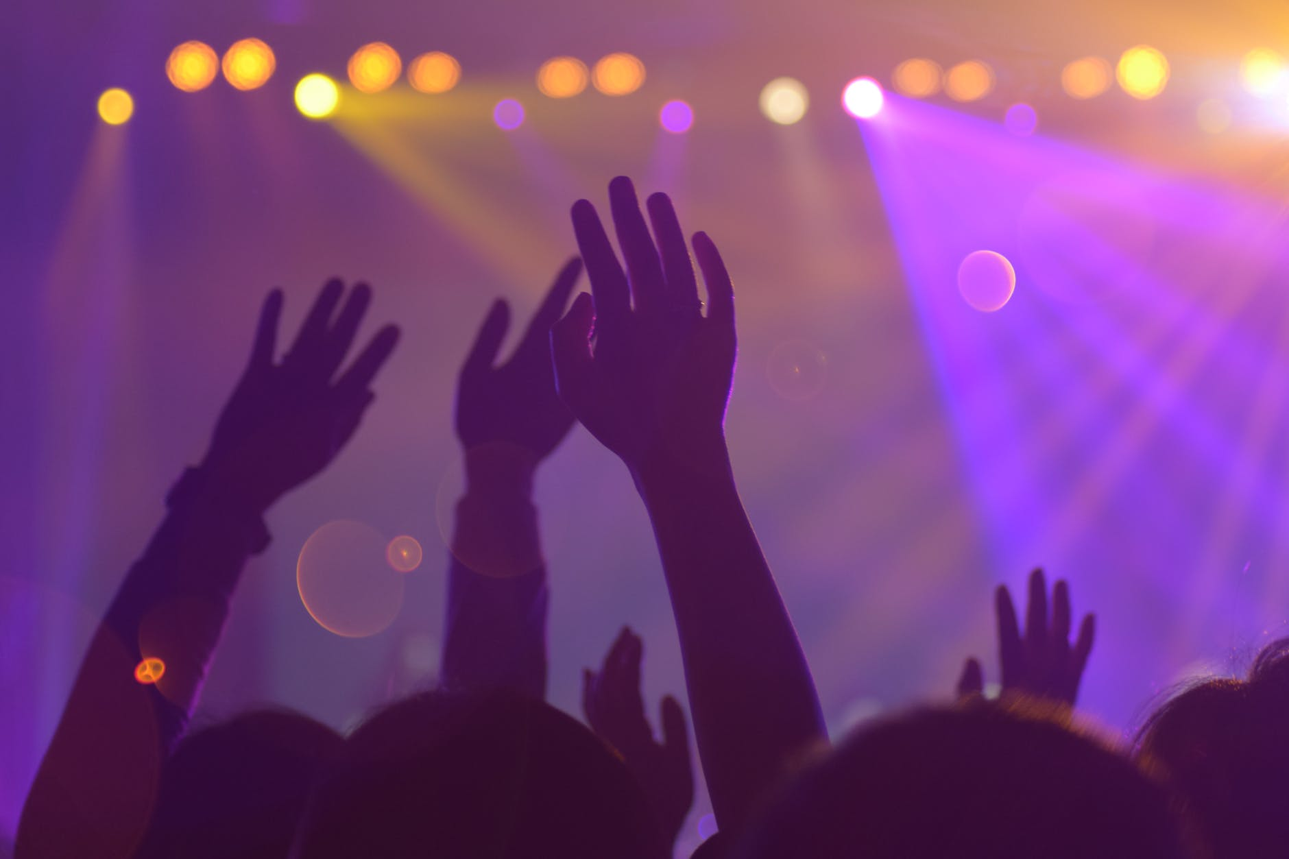 Hands raised up and lights displayed at a party or event