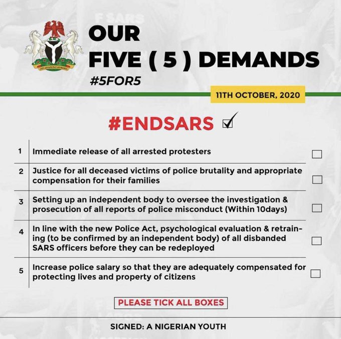 Five demands of the End SARS protesters