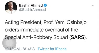 Acting President, Prof Yemi Osinbajo orders immediate overhaul of the Special Anti-Robbery Squad (SARS)