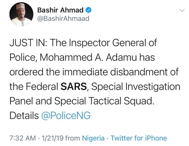 The Inspector General of Police, Mohammed A Adamu has ordered the immediate disbandment of the Federal SARS, Special Investigation Panel and Special Tactical Squad.