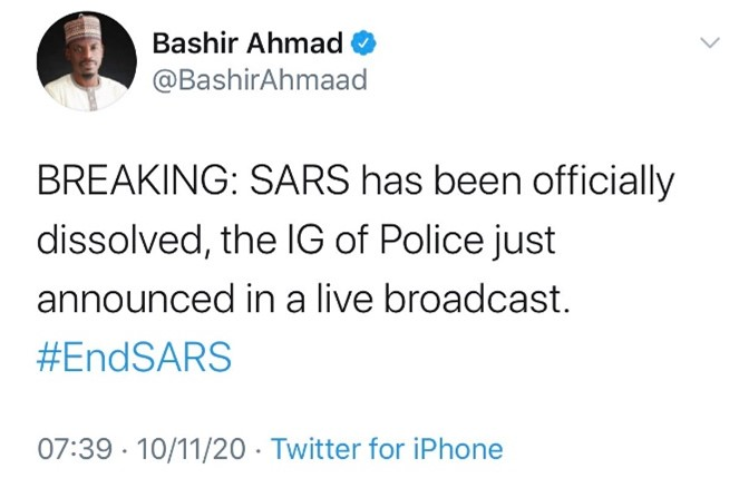SARS has been officially dissolved, the IG of Police just announced in a live broadcast