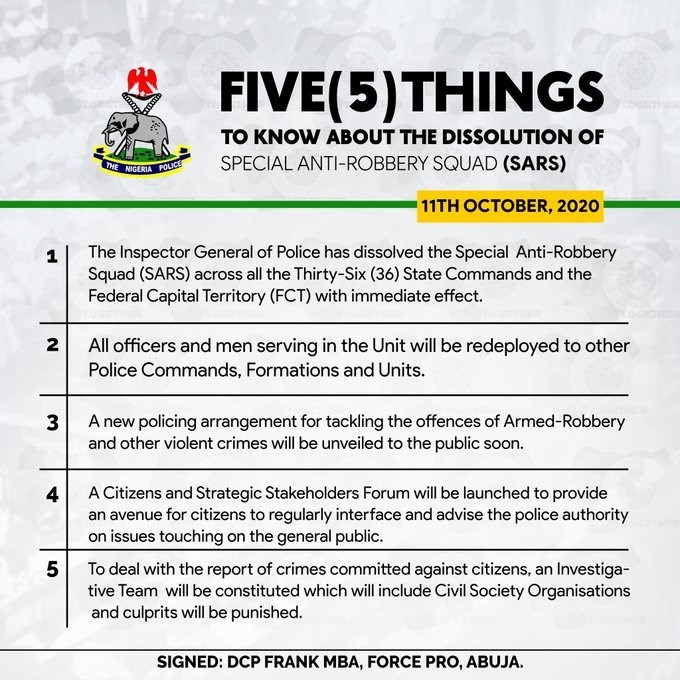 Five things to know about the dissolution of Special Anti-Robbery Squad (SARS)