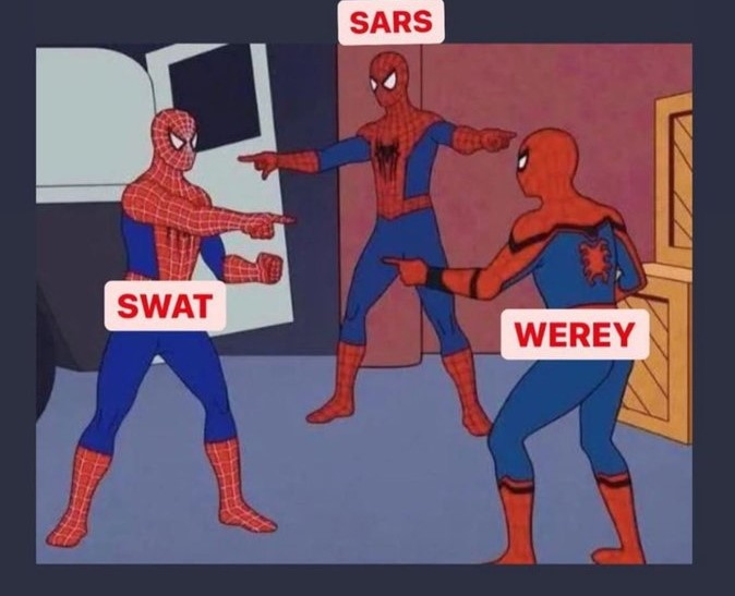 Three spider men pointing at themselves, each bearing the label SARS, SWAT, and WEREY